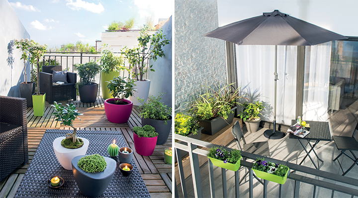 decoration de terrasse avec pots de fleurs maison design. Black Bedroom Furniture Sets. Home Design Ideas