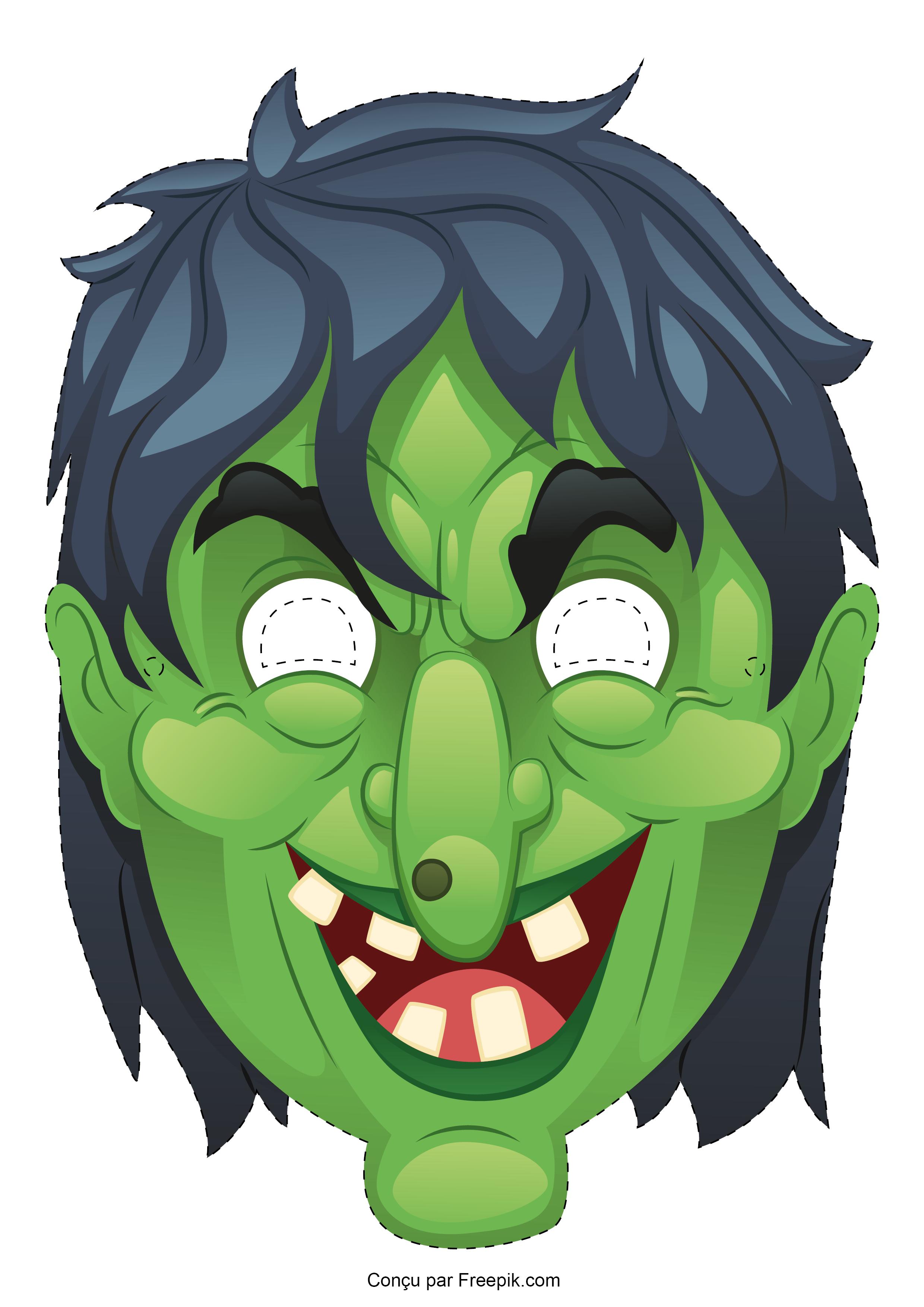 Le masque d 39 halloween imprimer - Le jeux de la sorciere qui fait peur ...