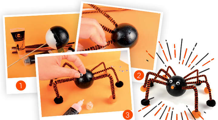 diy une araign e d 39 halloween fabriquer avec les enfants. Black Bedroom Furniture Sets. Home Design Ideas