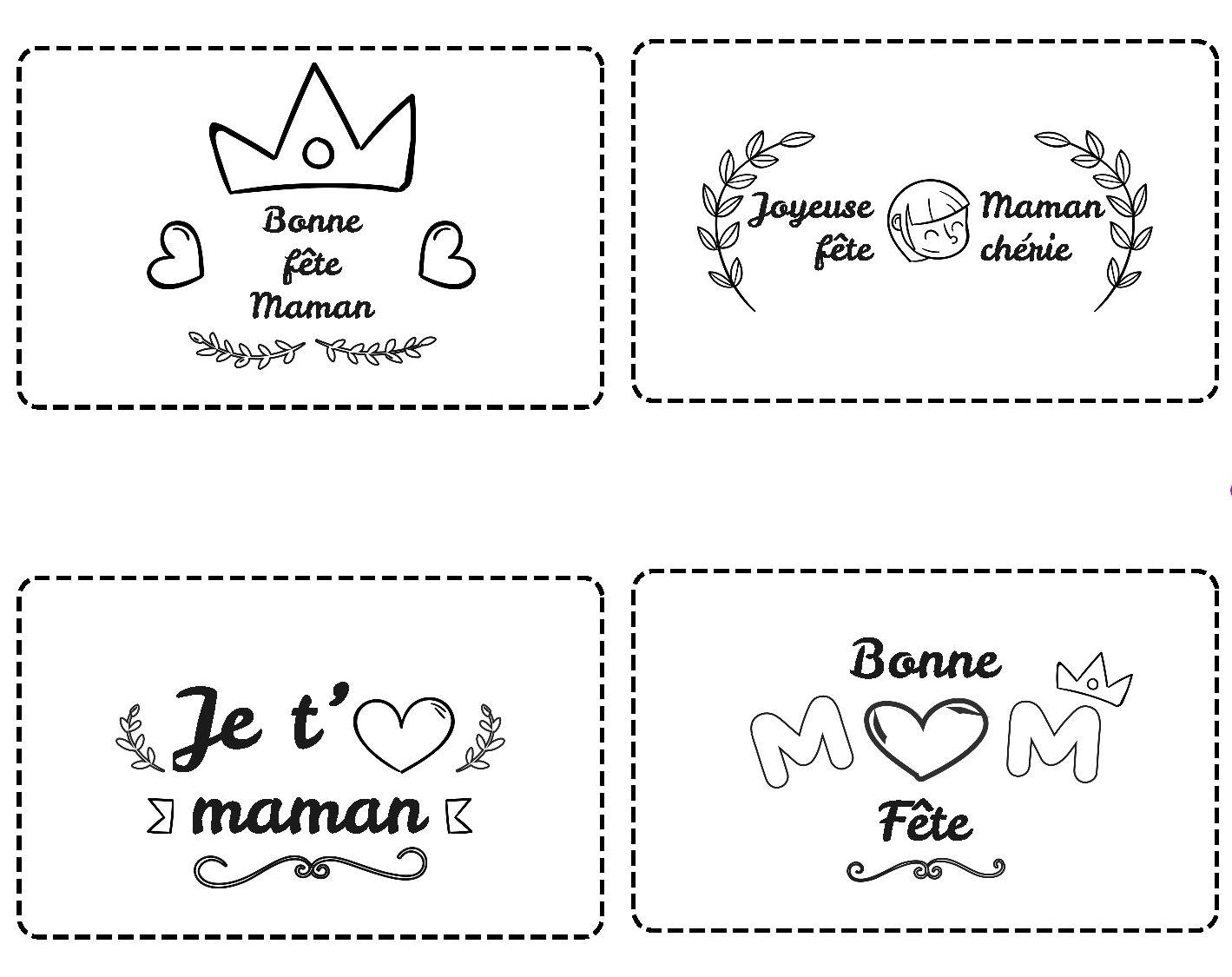 DIY - Blog La Foir'Fouille - 4 cartes à colorier pour la fête des mères