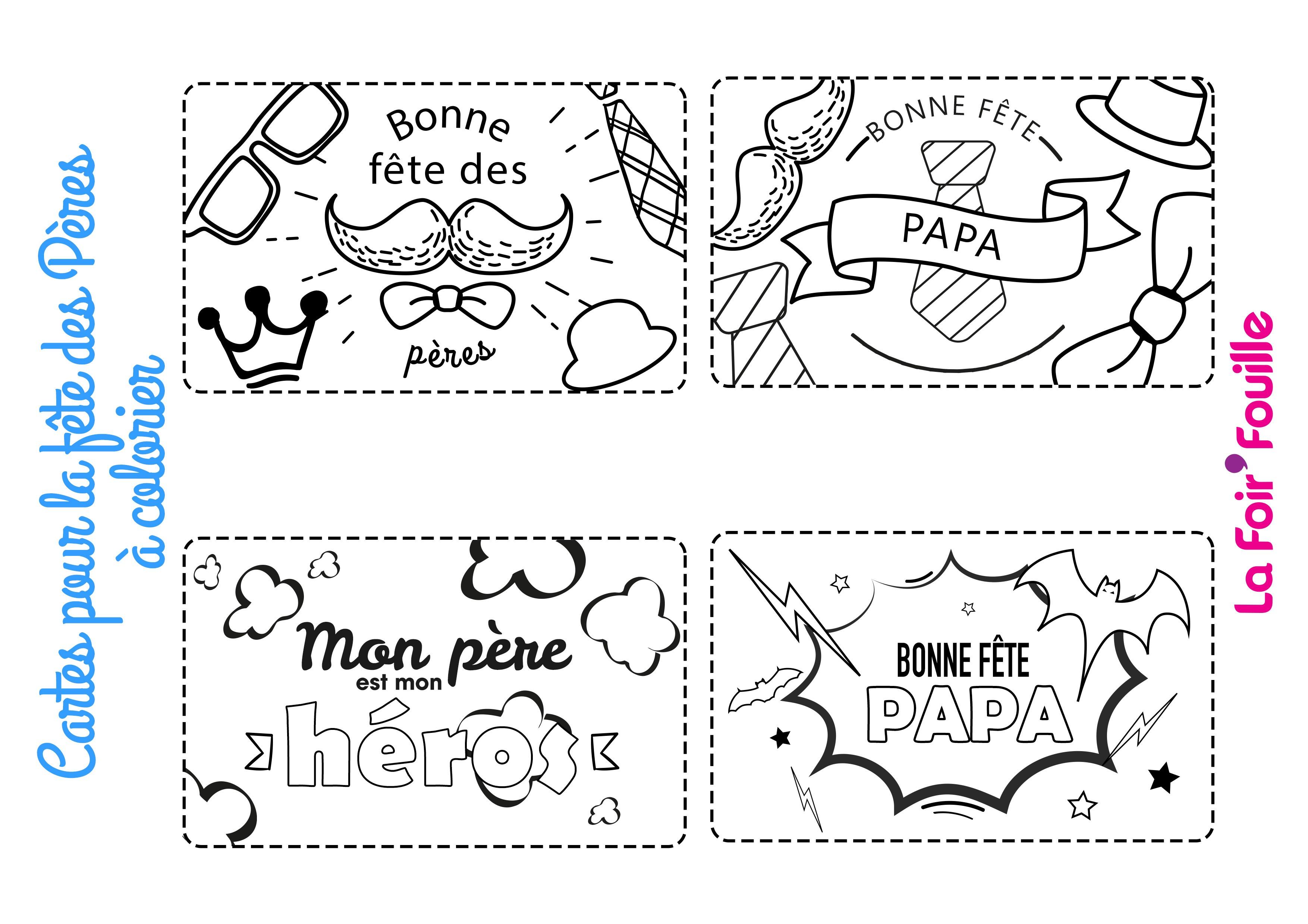 Diy 4 Cartes A Colorier Pour La Fete Des Peres Blog La Foirfouille