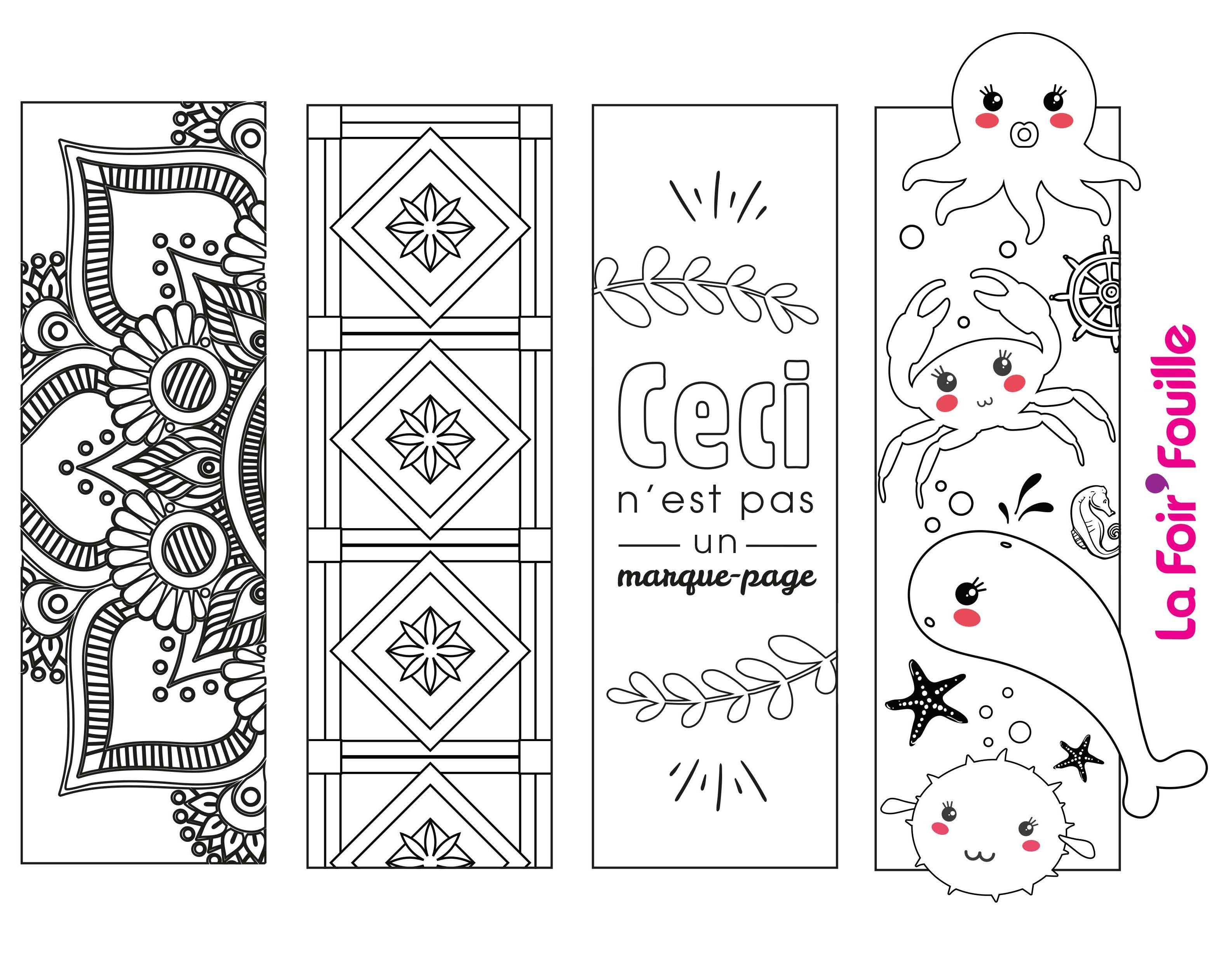 4 marque-pages à imprimer et à colorier - DIY - Blog La Foir'Fouille