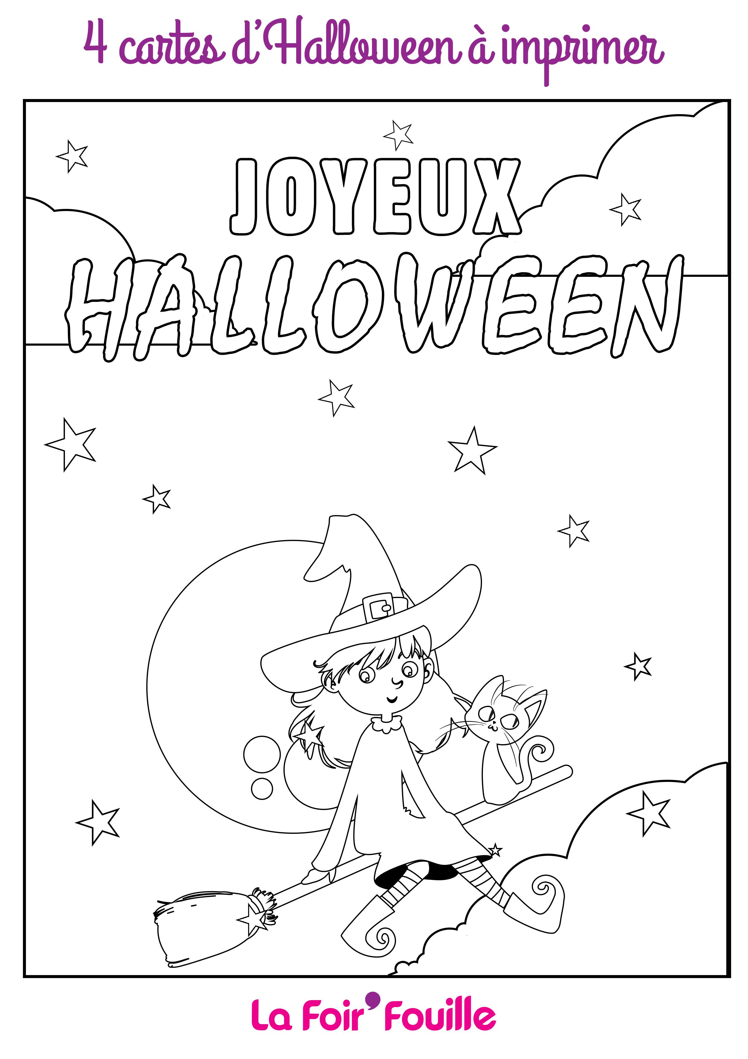 Diy 4 Cartes D Halloween A Imprimer Et A Colorier Blog La Foirfouille