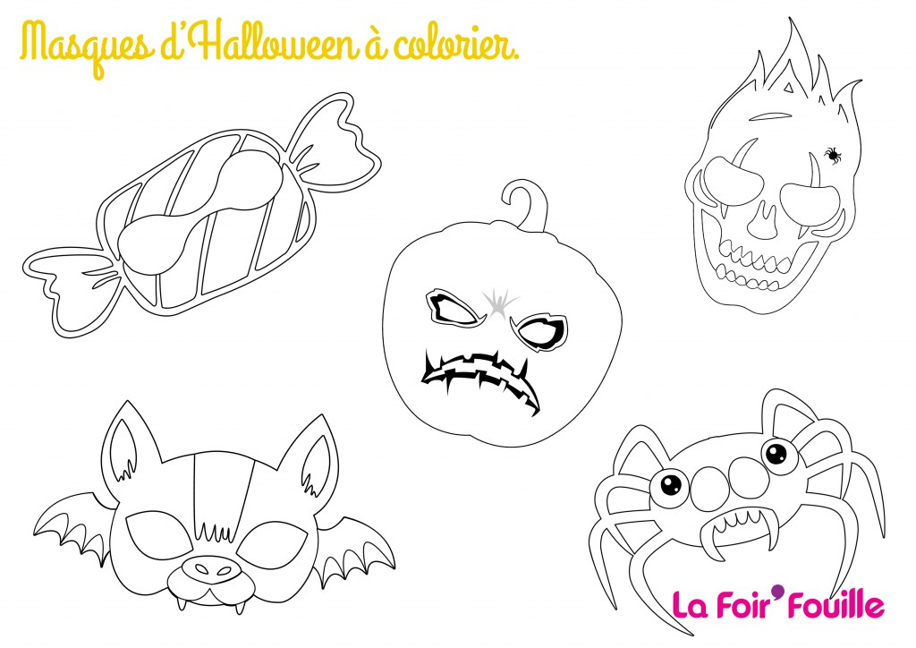 All together - DIY - 5 Masques d'Halloween à colorier